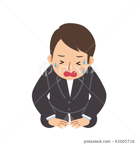 Illustration of a man in a suit who prostrate 63005716