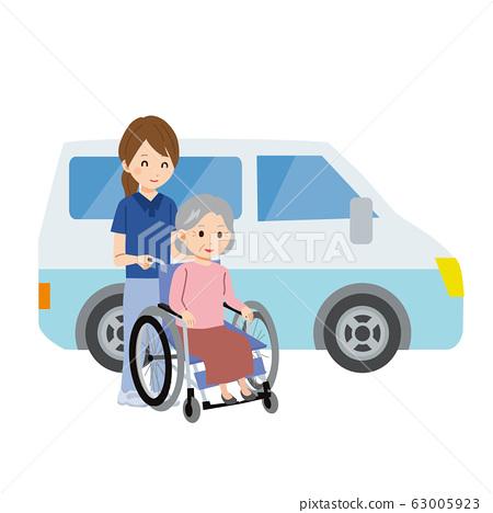 시설 셔틀 휠체어 노인 여성 간병인 일러스트 63005923