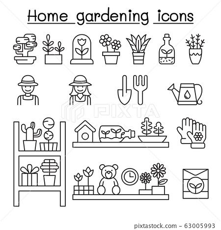 Home gardening icons set in thin line style 63005993