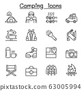 Camping & Hiking icons set in thin line style 63005994
