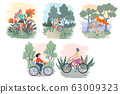 Set of different women riding bikes. Active lifestyle with bicycle. Vector cartoon illustration 63009323