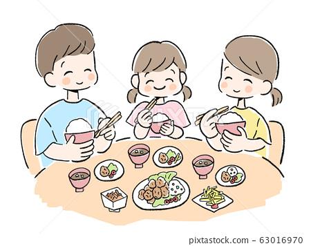 가족 단란 부모와 자식 셋 밥 반팔 식탁 일러스트 삽화 63016970