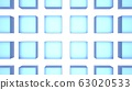 [배경 소재】 유리 큐브 4 × 6 블루 배경 흰색 63020533