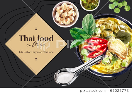 Thai food social media design with green curry 63022778