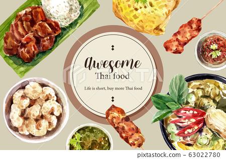 Thai food social media design with fried pork, 63022780