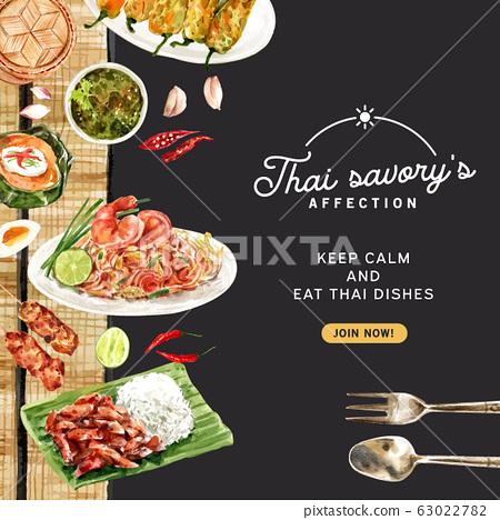 Thai food social media design with Pad Thai, fried 63022782