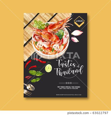 Thai food poster design with shrimp tom yum soup 63022797