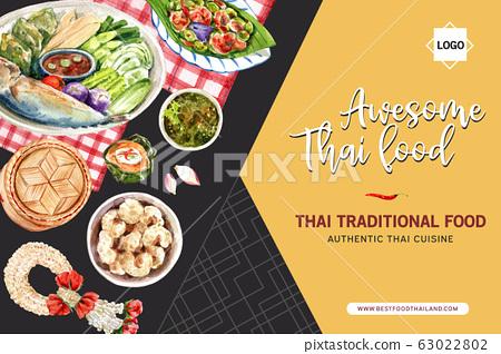 Thai food frame design with boiled vegetable, 63022802
