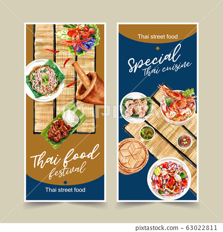 Thai food flyer design with fried pork, sticky 63022811