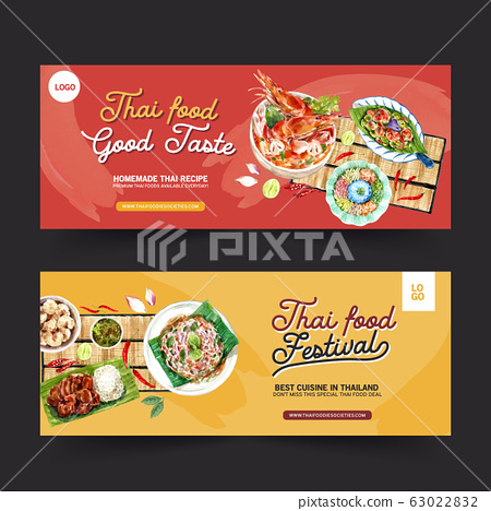 Thai food banner design with shrimp tom yum soup 63022832