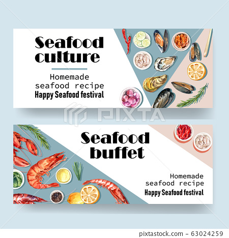 Seafood banner design with lobster, oyster, mussel 63024259