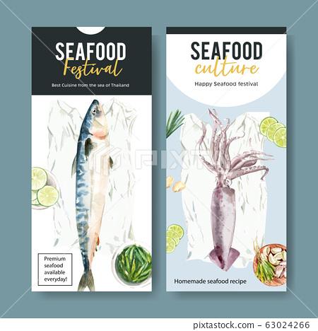Seafood flyer design with mackerel, squid 63024266