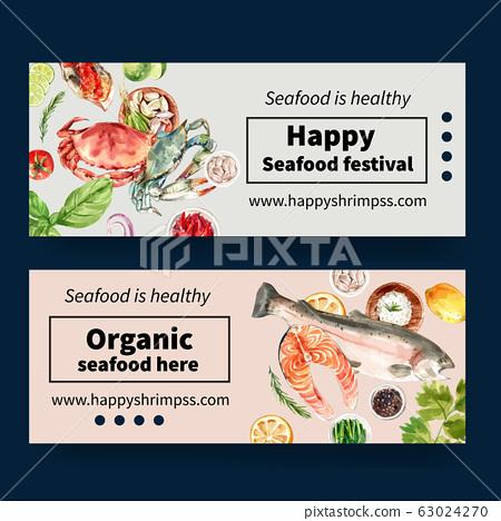Seafood banner design with  illustration 63024270