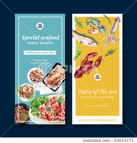 Seafood flyer design with lobster, fish, crab, 63024273