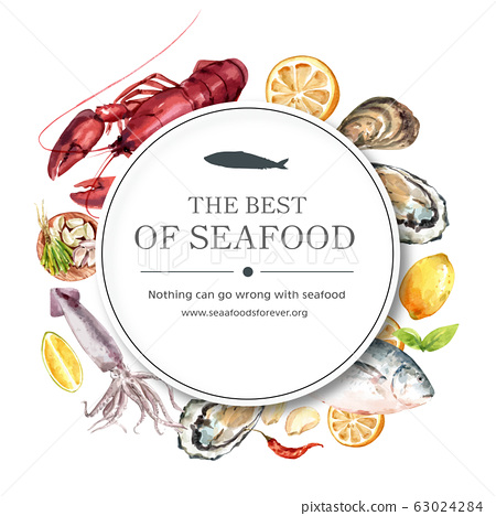 Seafood wreath design with oyster, fish, lobster 63024284