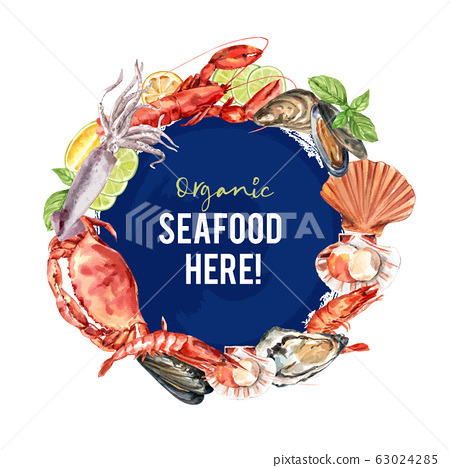 Seafood wreath design with  illustration 63024285