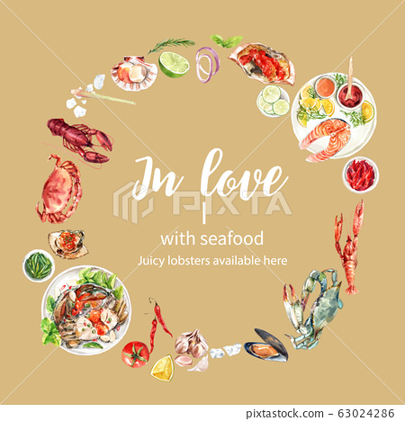 Seafood wreath design with crab, lobster, mussel 63024286