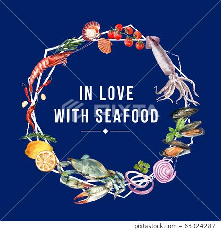 Seafood wreath design with shrimp, crab, mussel 63024287