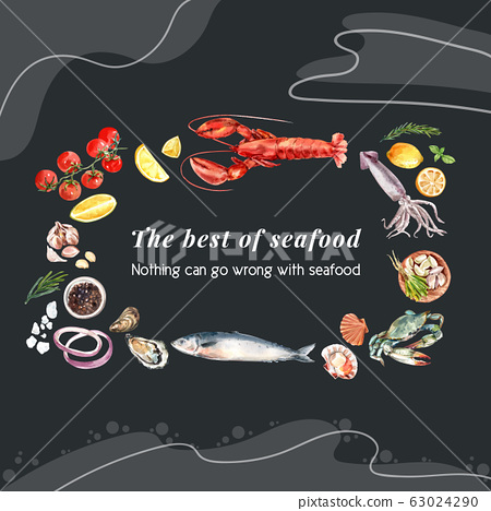 Seafood wreath design with fish, oyster, crab 63024290