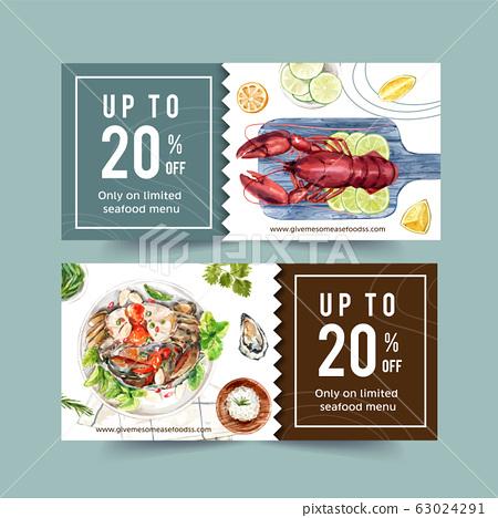 Seafood voucher design with lobster, lime, lemon, 63024291