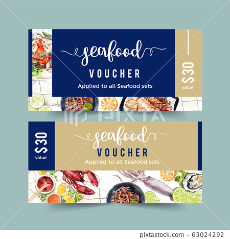 Seafood voucher design with crab, octopus, lobster 63024292