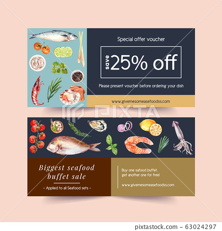 Seafood voucher design with shrimp, shell, fish, 63024297