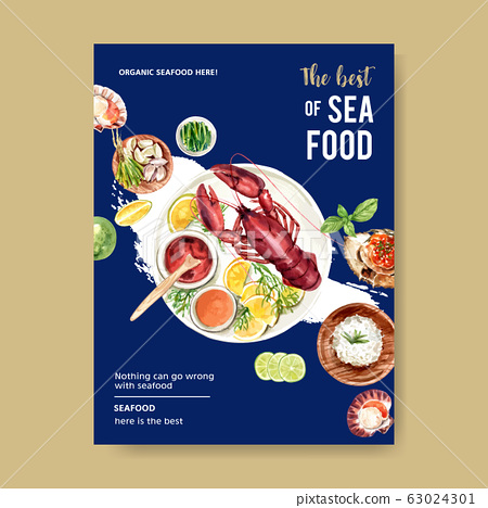 Seafood poster design with  shell, lobster, crab 63024301