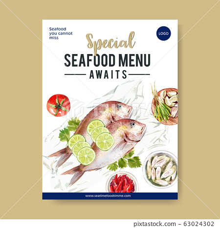 Seafood poster design with snapper illustration 63024302