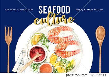 Seafood frame design with  illustration 63024311