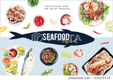 Seafood frame design with fish, crab, cockle 63024314