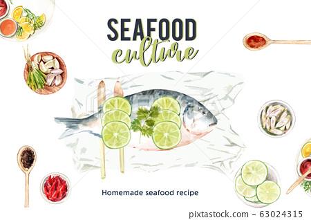 Seafood frame design with fish, lemon grass, 63024315