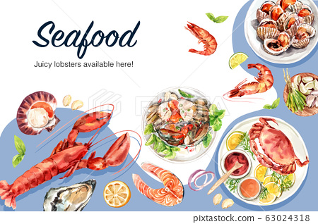 Seafood frame design with lobster, fish, crab 63024318