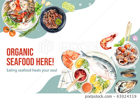 Seafood frame design with cockle, crab, fish 63024319