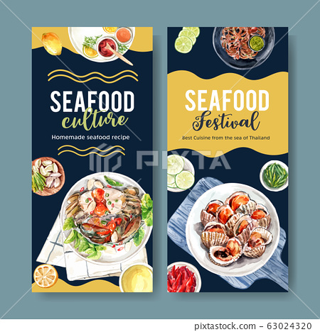 Seafood flyer design with  mud crab, octopus, 63024320
