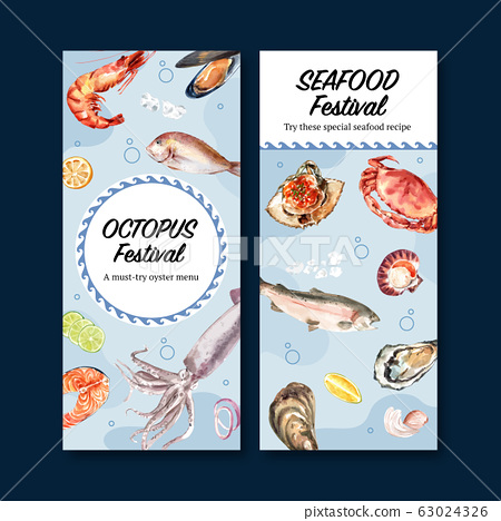 Seafood flyer design with mussel, oyster, fish 63024326