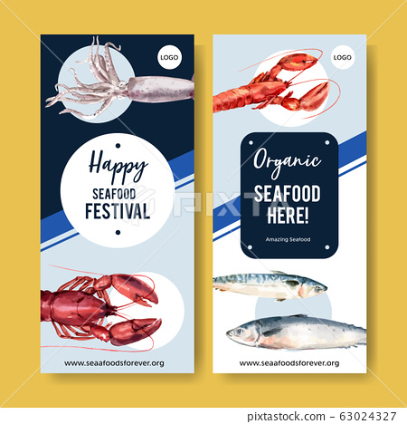Seafood flyer design with lobster, squid, fish 63024327