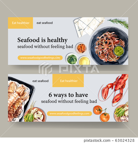 Seafood banner design with lobster, crayfish, 63024328