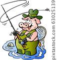 Vector Cartoon illustration of a happy Fly Rod Pig 63025139