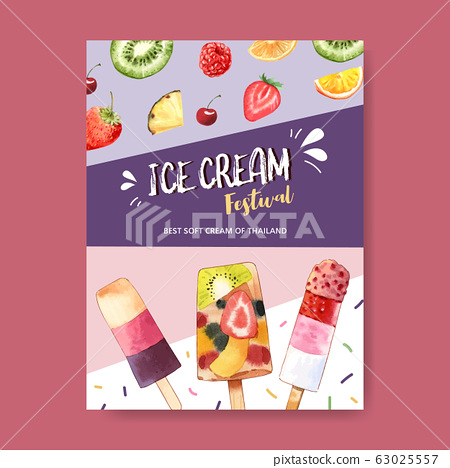 Ice cream poster design with mix fruits watercolor 63025557