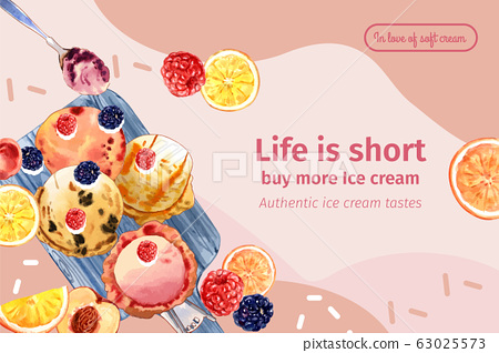 Ice cream frame design with mix berries watercolor 63025573