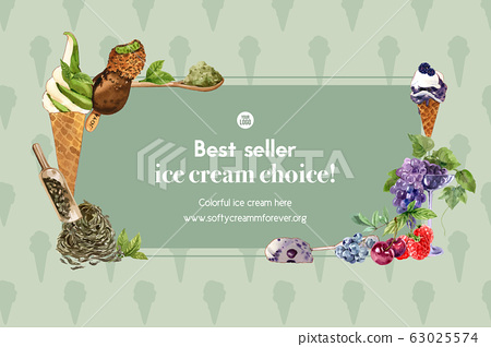 Ice cream frame design with green tea, mix berries 63025574