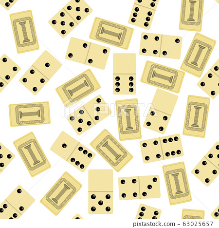Domino Seamless Pattern Isolated on White Background. Board Game Texture 63025657