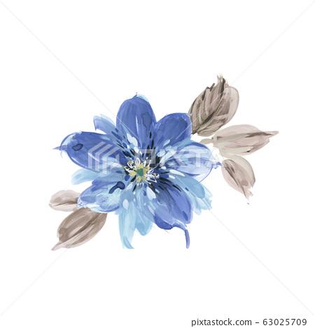 手繪水彩花卉素材集,中國水墨畫 63025709
