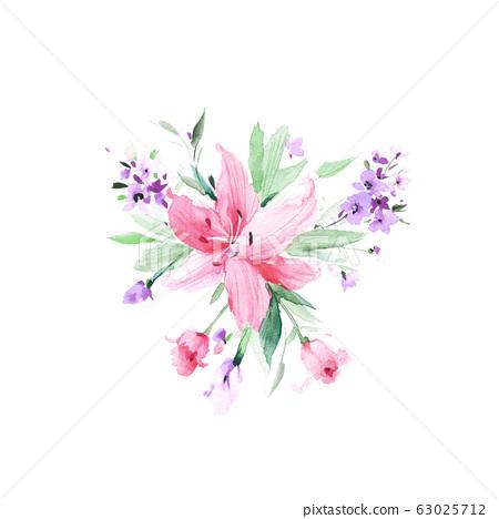 手繪水彩花卉素材集,中國水墨畫 63025712