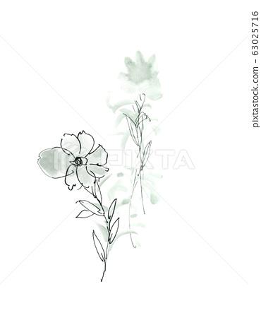 手繪水彩花卉素材集,中國水墨畫 63025716