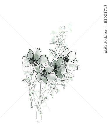 手繪水彩花卉素材集,中國水墨畫 63025718