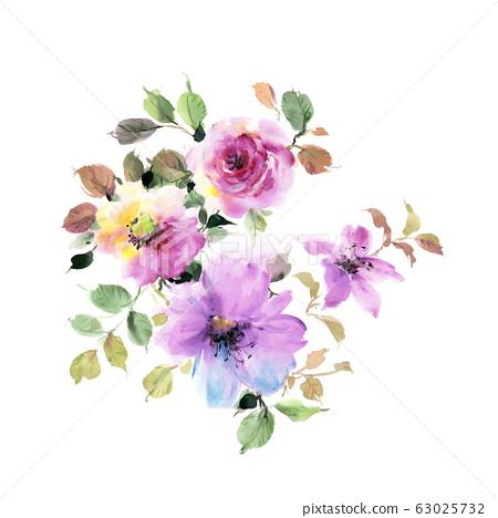 手繪水彩花卉素材集,中國水墨畫 63025732