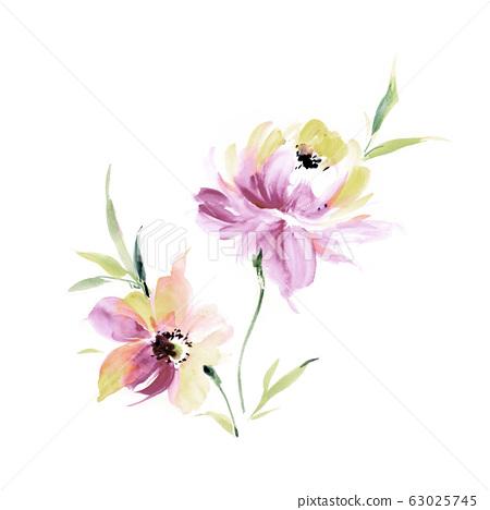 手繪水彩花卉素材集,中國水墨畫 63025745