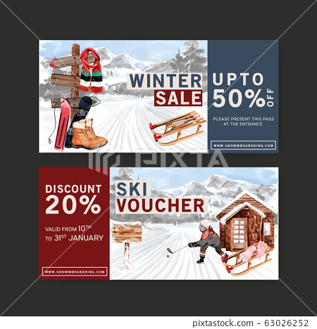 Winter sport ticket design with gloves, boots, 63026252