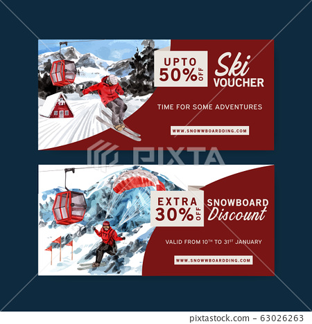 Winter sport ticket design with parachute, ropeway 63026263